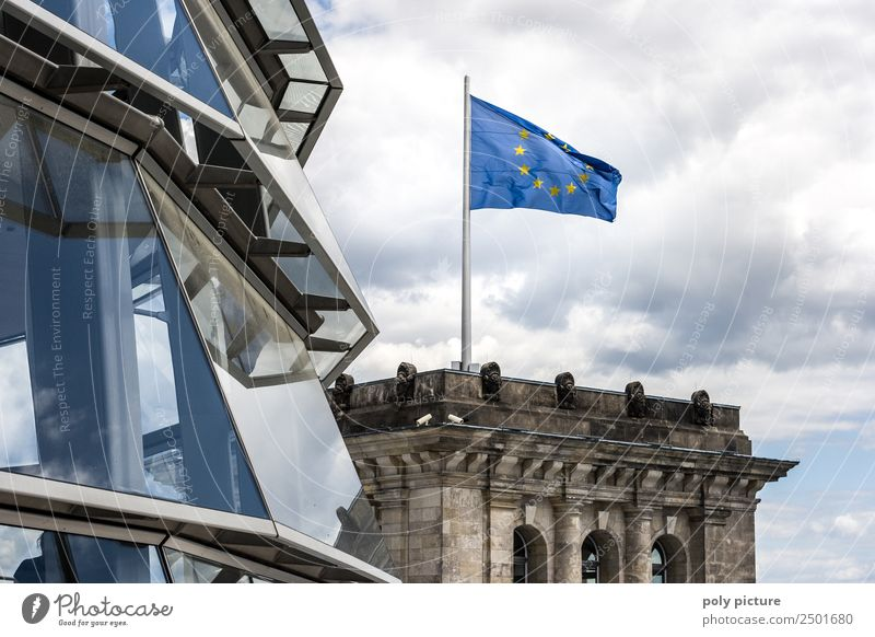 European flag on the Reichstag Vacation & Travel Tourism Trip Sightseeing City trip Capital city Old town Deserted Manmade structures Building Architecture