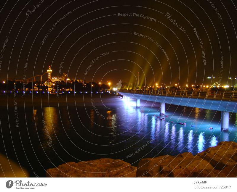 light bridge Dubai Hotel Light Night Success Bridge Blue Reaction glowing