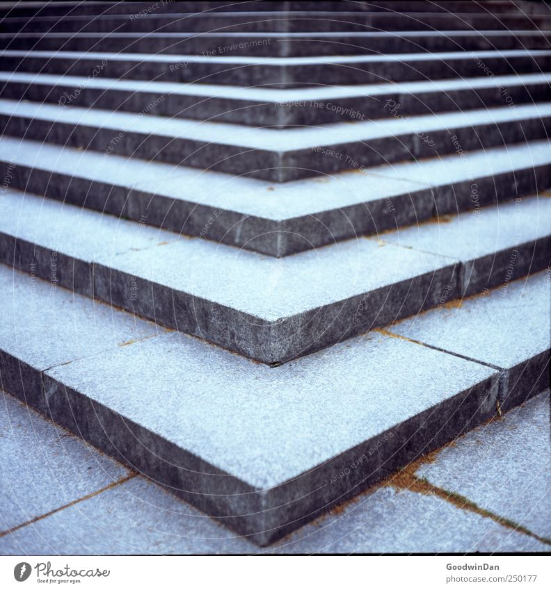 Up. Stairs Stone Concrete Sharp-edged Cold Modern Colour photo Exterior shot Deserted Day Shallow depth of field