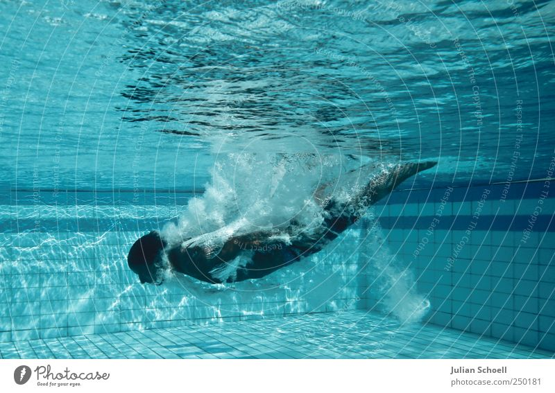 Submerged Aquatics Swimming & Bathing Masculine 1 Human being Swimming trunks Water Fluid Blue Colour photo Exterior shot Day Contrast Sunbeam