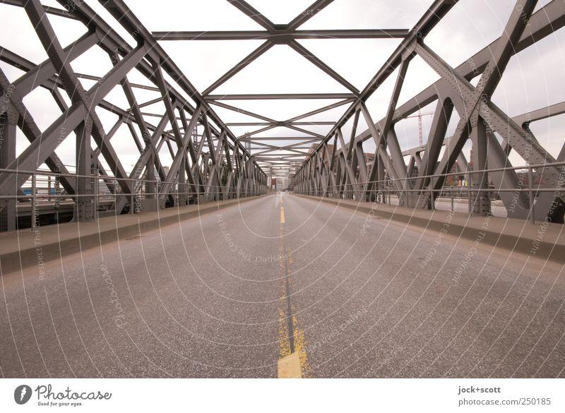 New eastern axis (section) Technology Hamburg Downtown bridge Baaken Bridge Traffic infrastructure Street Metal Line Stripe Sharp-edged Historic Esthetic