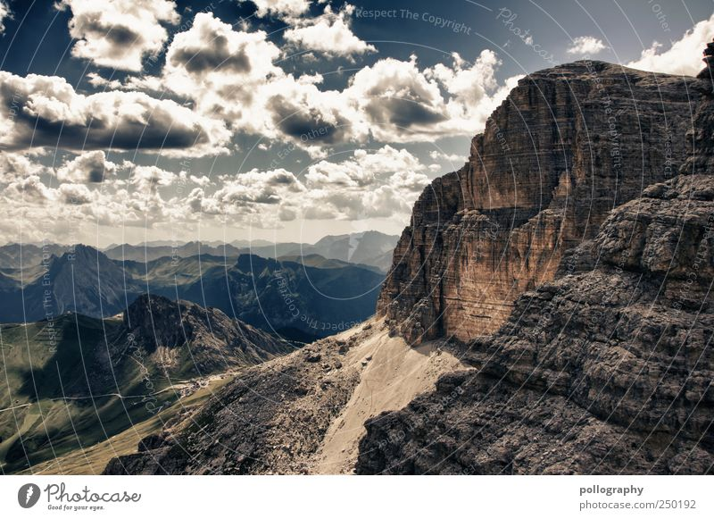 Once upon a time... Far-off places Freedom Mountain Nature Landscape Earth Sky Clouds Horizon Summer Beautiful weather Grass Meadow Field Alps Dolomites Peak