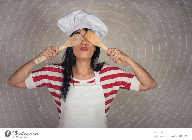 funny woman with wooden spoons in his eyes Woman Human being Youth (Young adults) Young woman Joy Adults Lifestyle Funny Emotions Feminine Nutrition Happiness