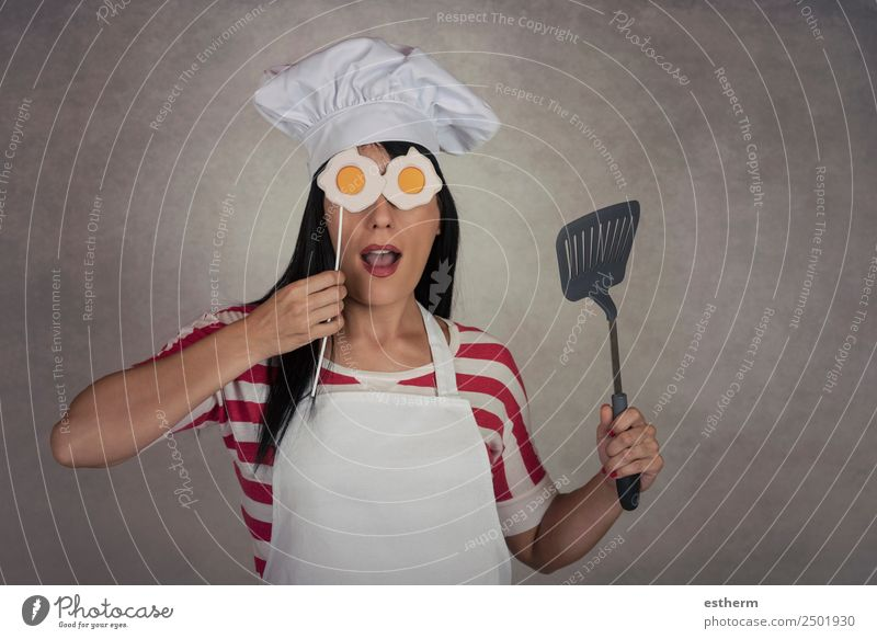 funny woman with fried eggs in his eyes Nutrition Dinner Diet Lifestyle Joy Kitchen Restaurant Profession Gastronomy Human being Feminine Young woman