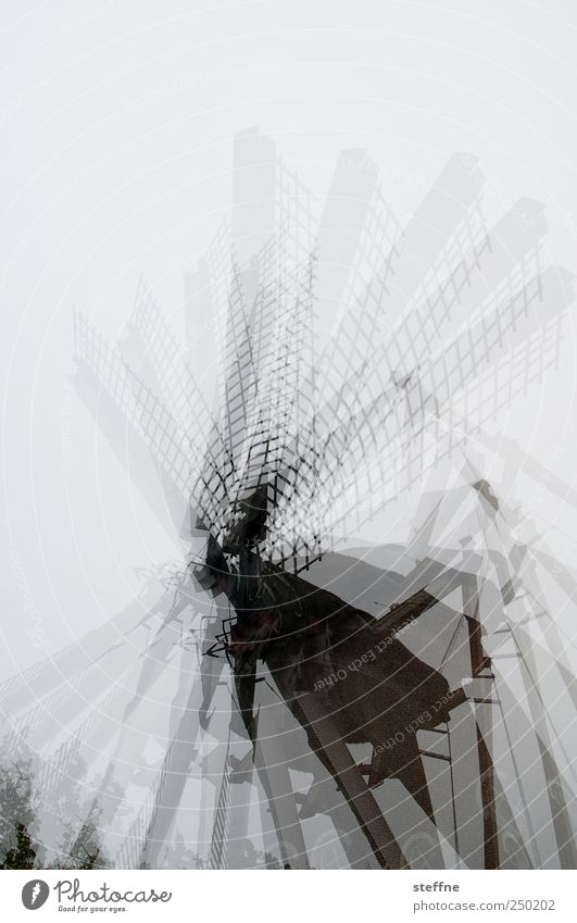 spinning around dare Netherlands Rotate Mill Windmill Windmill vane Movement Double exposure Subdued colour Exterior shot Experimental Copy Space top