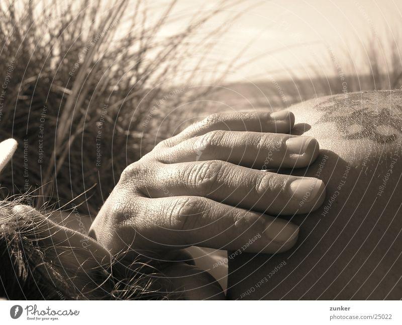 Human being Hand Beach Grass Tattoo Shoulder Monochrome