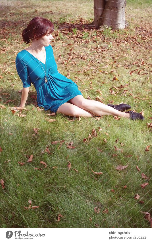 Human being Nature Youth (Young adults) Blue Green Beautiful Leaf Relaxation Feminine Autumn Landscape Adults Garden Style Dream Fashion