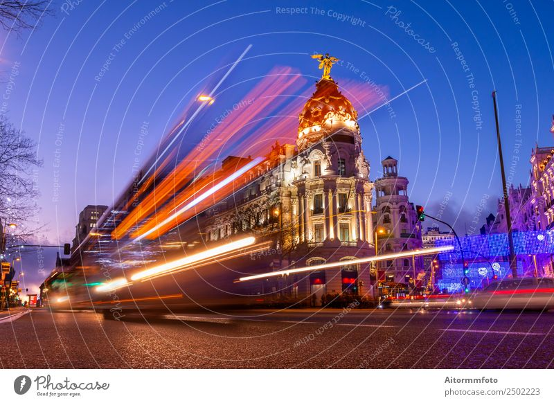 Madrid, Spain at Beautiful sunset with lights of cars Sky Vacation & Travel Blue Town Landscape Dark Street Architecture Life Movement Building Tourism Trip