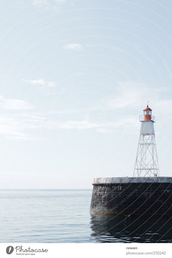 signpost Waves Coast Ocean Blue Lighthouse Illuminate Road marking Red Signal Harbour Jetty Navigation Calm Smoothness Clue Conduct Colour photo Exterior shot