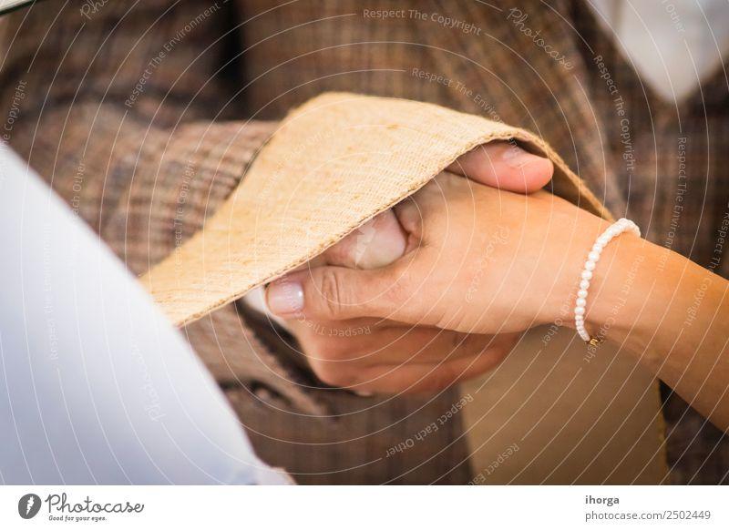 hands intertwined wedding couple on wedding day Beautiful Feasts & Celebrations Wedding Young woman Youth (Young adults) Young man Woman Adults Man Couple Hand