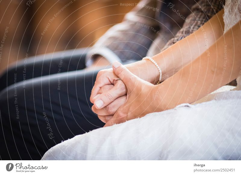 hands intertwined wedding couple on wedding day Beautiful Feasts & Celebrations Wedding Young woman Youth (Young adults) Young man Woman Adults Man Couple