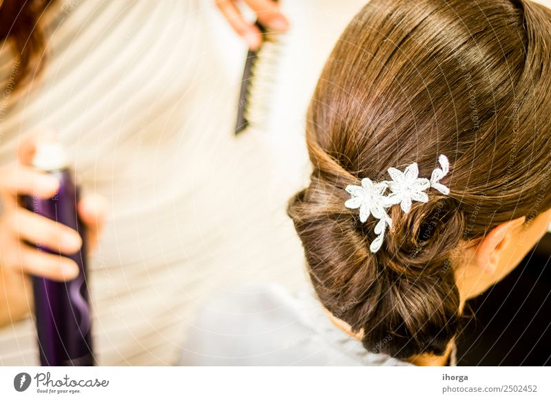 Wedding hairstyle for bride to wedding day Beautiful Hair and hairstyles Feasts & Celebrations Young man Youth (Young adults) Woman Adults Dress Love Happiness