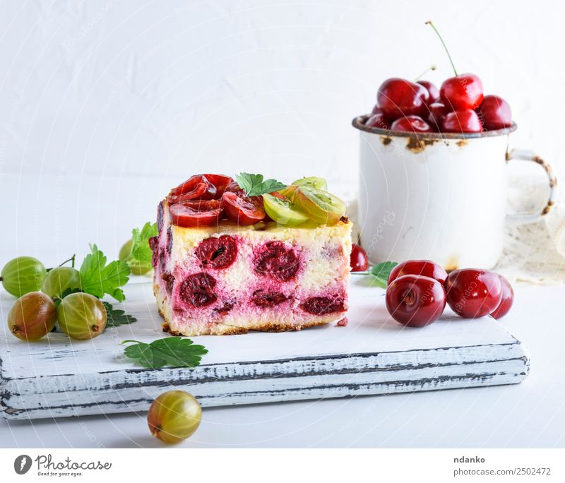 cheesecake with cherry berries Cheese Fruit Cake Dessert Candy Cup Table Eating Fresh Delicious Above Red White Gooseberry Cherry filling Slice background food