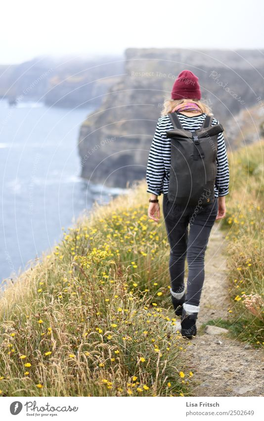 Ireland, Cliffs of Moher, woman, hiking Vacation & Travel Tourism Trip Far-off places Hiking Woman Adults 1 Human being 18 - 30 years Youth (Young adults)
