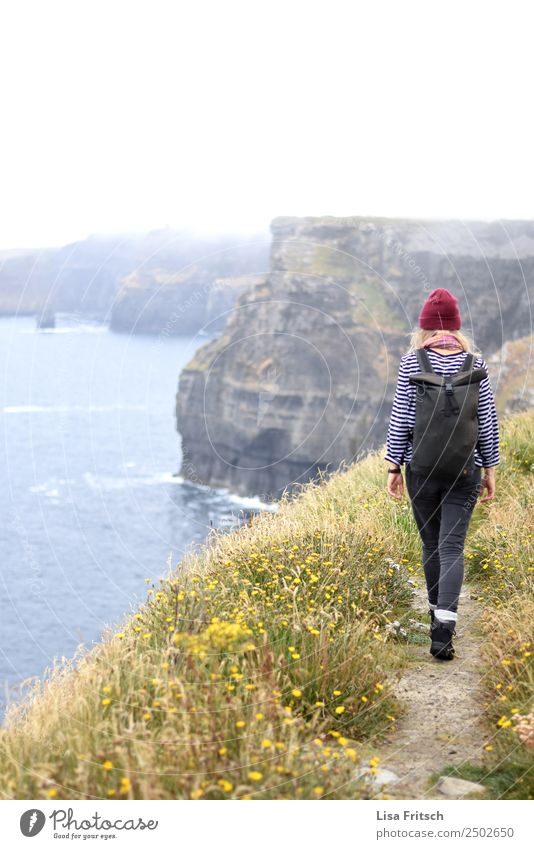 Running woman with backpack - Cliffs of Moher, Ireland. Vacation & Travel Tourism Trip Sightseeing Woman Adults 1 Human being 18 - 30 years Youth (Young adults)