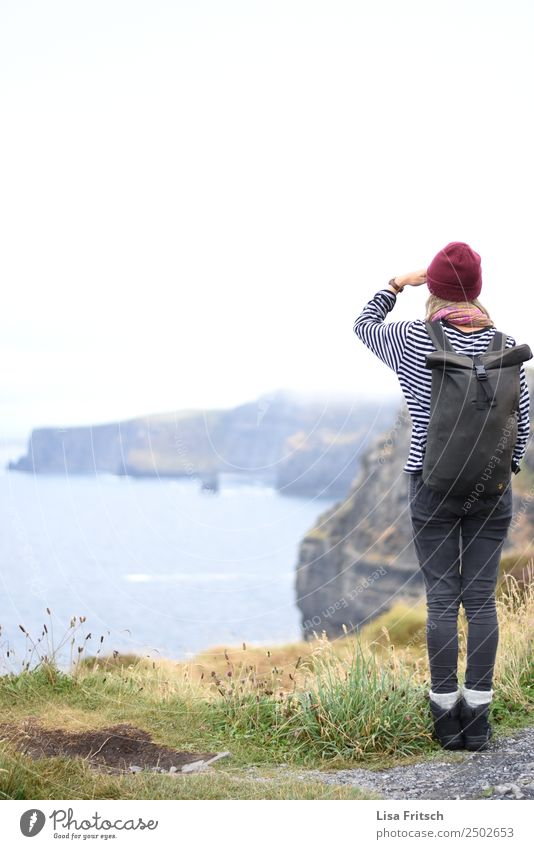 Cliffs of Moher, woman looking into the distance Vacation & Travel Tourism Trip Far-off places Young woman Youth (Young adults) 1 Human being 18 - 30 years