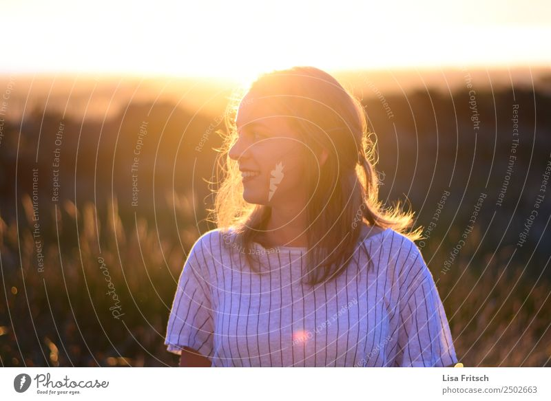 woman, sunset, bushes Vacation & Travel Young woman Youth (Young adults) 1 Human being 18 - 30 years Adults Sunrise Sunset Beautiful weather Bushes Blonde