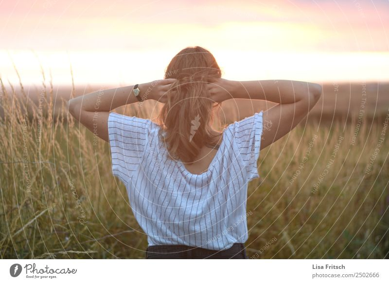 Woman, both hands in the hair, back view Beautiful Vacation & Travel Tourism Far-off places Summer Summer vacation Adults 1 Human being 18 - 30 years