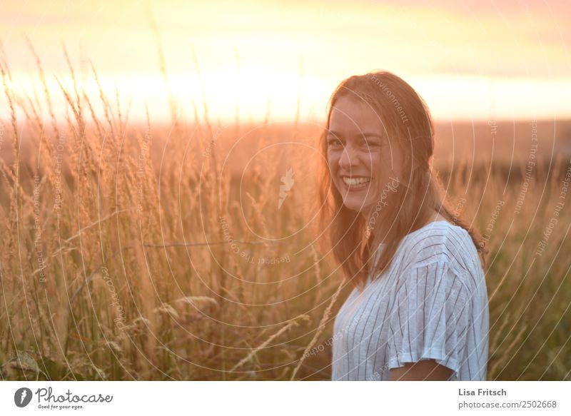 laughing, blonde woman, sunset, field Vacation & Travel Tourism Young woman Youth (Young adults) 1 Human being 18 - 30 years Adults Environment Nature Landscape