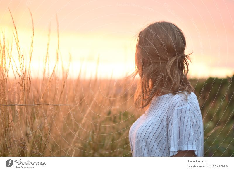 Sunset, Field Vacation & Travel Woman Adults 1 Human being 18 - 30 years Youth (Young adults) Environment Nature Sunrise Beautiful weather Bushes