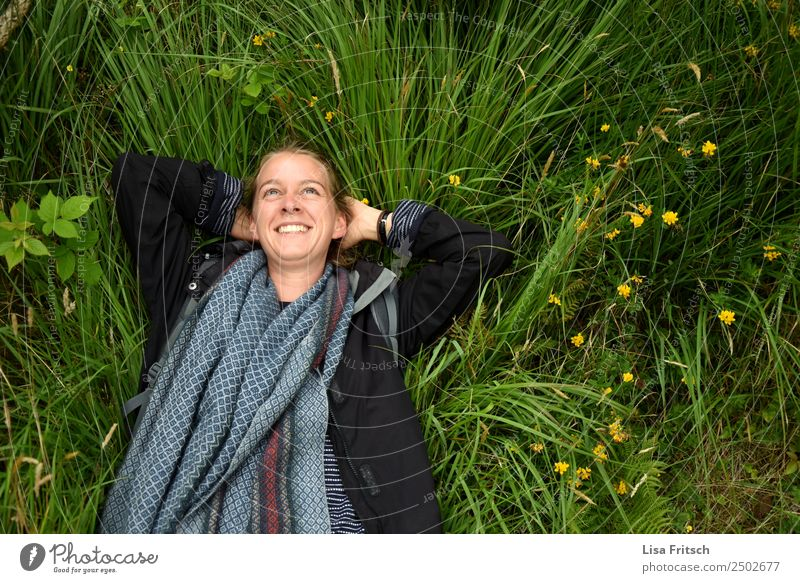 Woman, lying in the grass, enjoying Lifestyle Healthy Feminine Young woman Youth (Young adults) 1 Human being 18 - 30 years Adults Nature Animal Spring Flower