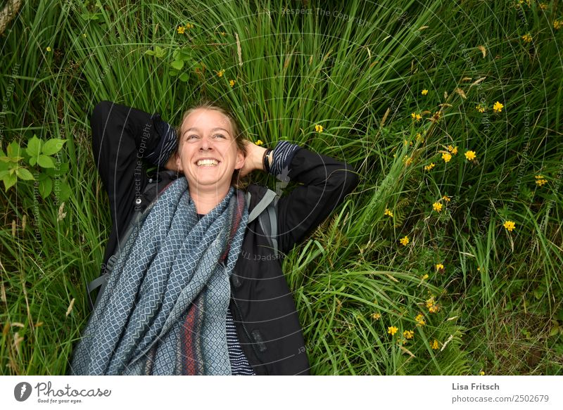 Nature, grass, woman laughing in a meadow Vacation & Travel Tourism Young woman Youth (Young adults) 1 Human being 18 - 30 years Adults Environment Flower Grass