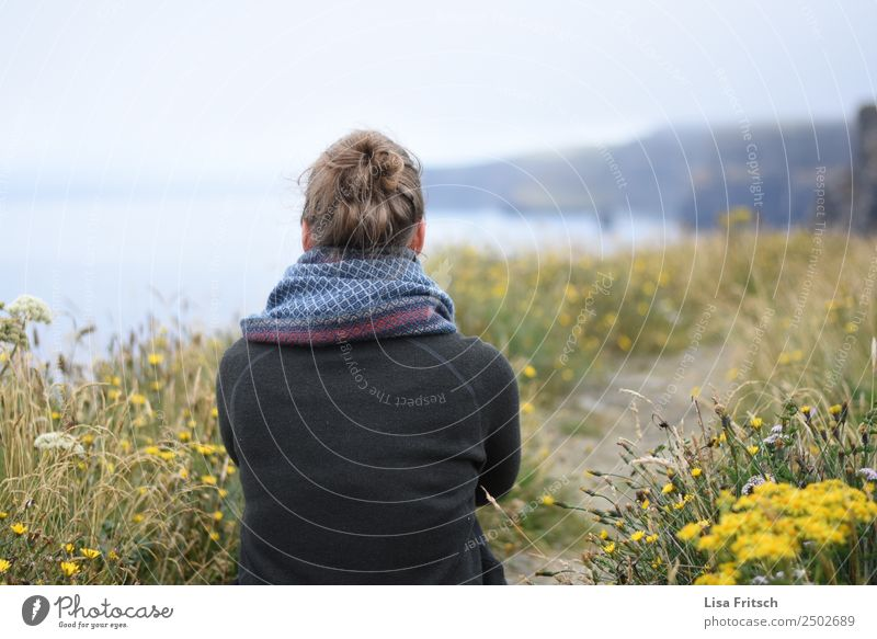 Way, woman, sitting, in front of Cliffs of Moher Vacation & Travel Tourism Trip Sightseeing Woman Adults 1 Human being 18 - 30 years Youth (Young adults)