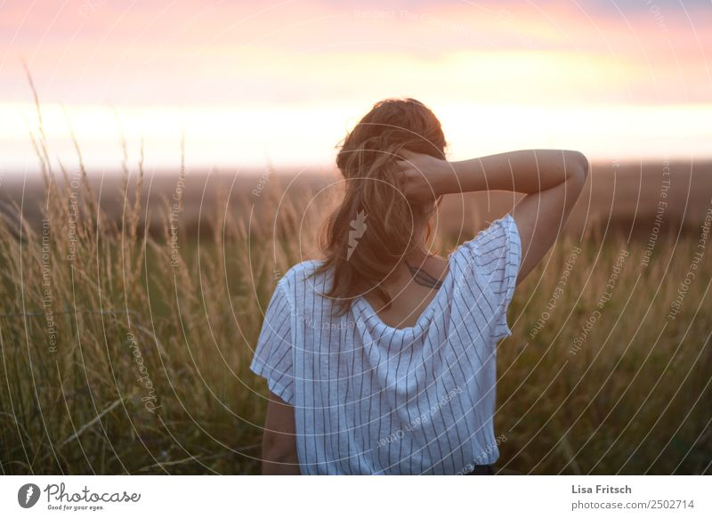 Woman with one hand in her hair, sunset Beautiful Vacation & Travel Adults 1 Human being 18 - 30 years Youth (Young adults) Nature Sunrise Sunset