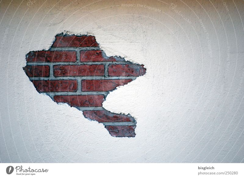 wall map Wall (building) Brick Brick red Stone Red White Continents Map Wall (barrier) Colour photo Subdued colour Exterior shot Deserted Copy Space right Day