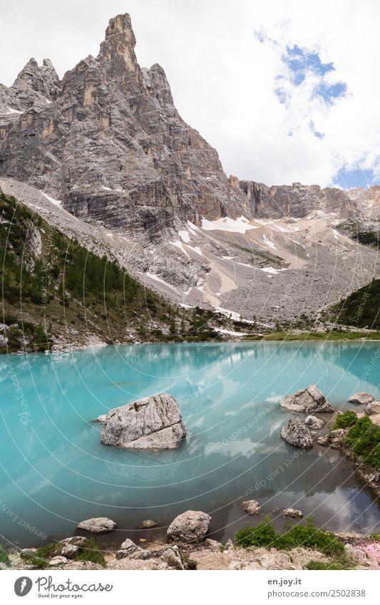 A magic place Vacation & Travel Trip Adventure Summer vacation Mountain Nature Landscape Clouds Rock Alps Dolomites Peak Lakeside Lake Sorapis glacial lake
