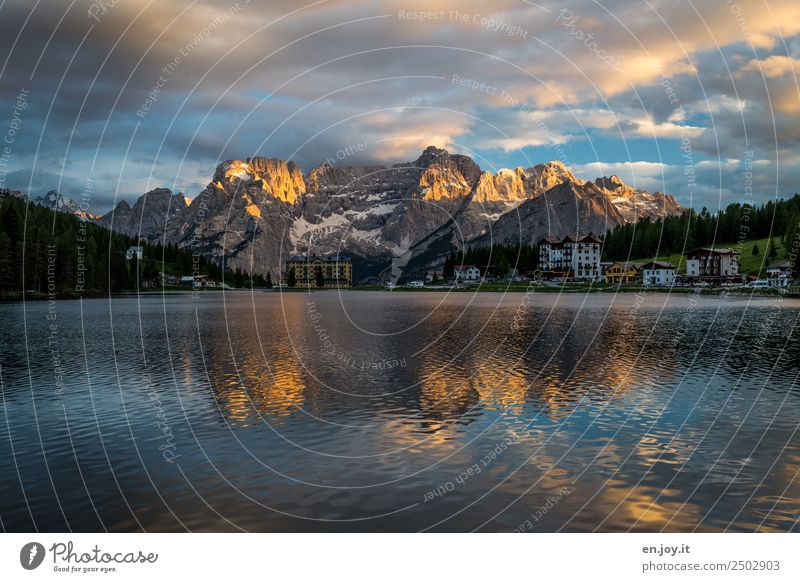 After dinner Vacation & Travel Far-off places Summer vacation Mountain Nature Landscape Sky Clouds Sunrise Sunset Rock Alps Dolomites Sorapis Lakeside