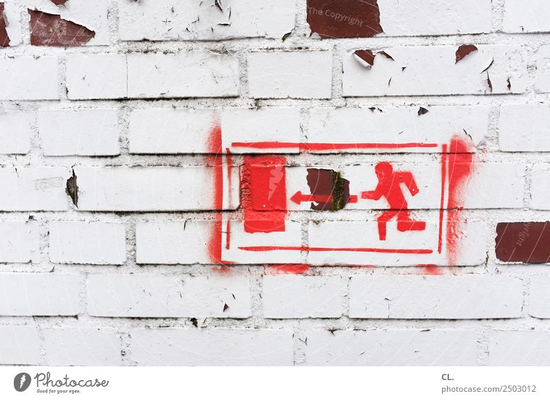 Crossing the border that long. Wall (barrier) Wall (building) Emergency exit Way out Sign Signs and labeling Signage Warning sign Arrow Walking Running Old