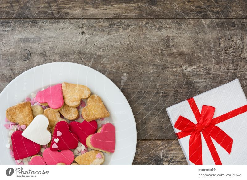 Valentine cookies and gift box Food Food photograph Dessert Candy Breakfast Feasts & Celebrations Valentine's Day Mother's Day Wedding Gift Box Sweet Brown Pink