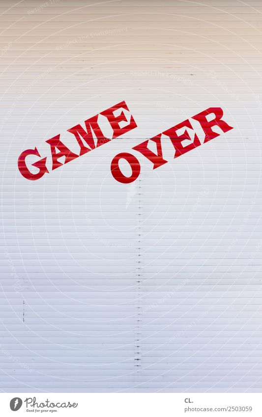 game over Playing Game of chance Computer games Fairs & Carnivals Roller blind Screening Characters Signs and labeling Signage Warning sign Red White