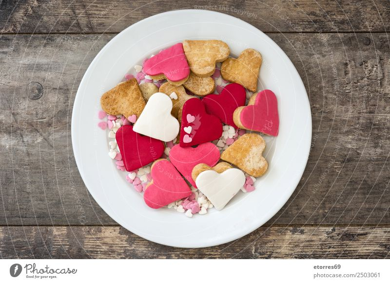 Valentine cookies Red Love Food Feasts & Celebrations Brown Pink Decoration Heart Sweet Wedding Candy Good Breakfast Dessert Plate Baked goods