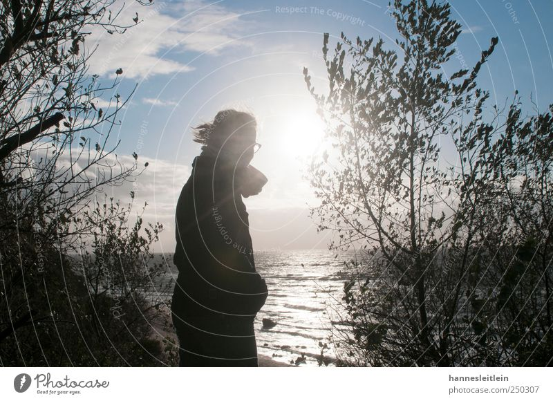 sea sun Human being Woman Adults 1 Ocean Baltic Sea Relaxation Cool (slang) Happy Infinity Longing Homesickness Wanderlust Discover Vantage point Look back