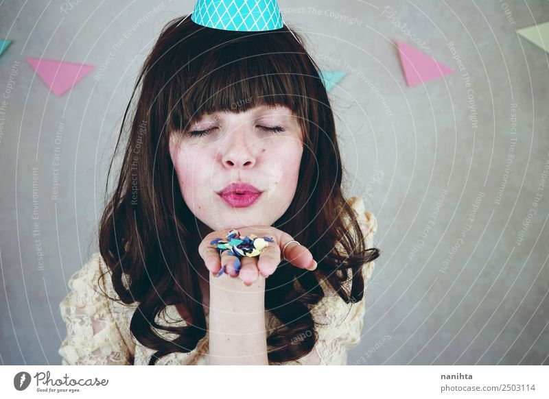 Young woman celebrating a birthday party Woman Human being Youth (Young adults) Beautiful Joy 18 - 30 years Face Lifestyle Adults Funny Feminine Happy Style
