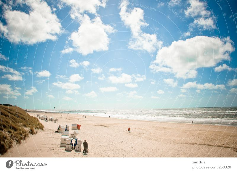 beach Nature Landscape Sky Clouds Horizon Summer Beautiful weather Waves Coast North Sea Ocean Calm Contentment Relaxation Leisure and hobbies Peace Idyll