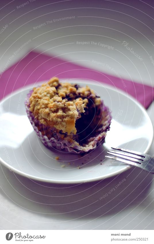 Baubeer Muffin Food Dough Baked goods Cake Candy To have a coffee Vegetarian diet Plate Fork Fragrance To enjoy Good Beautiful Delicious Natural Juicy Violet