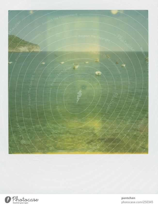 Polaroid. View from the pebble beach to the sea with sailing boats. Holiday Vacation & Travel Summer Summer vacation Ocean Work and employment Navigation Nature