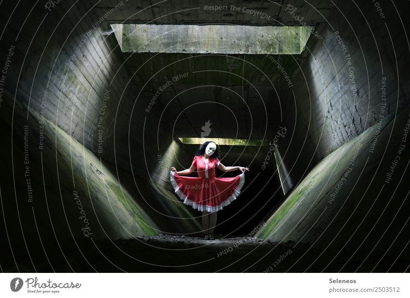 dance Human being Feminine Woman Adults 1 Dancer Tunnel Manmade structures Architecture Dress Mask Dark Creepy Hallowe'en Colour photo Light Shadow Contrast