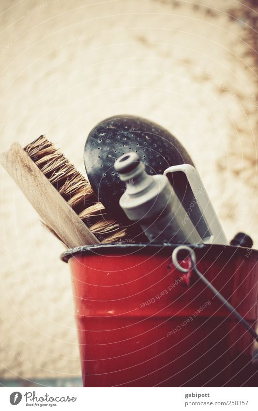 Order must be Bowl Collection Bucket Brush Gardening equipment Things Wood Metal Original Retro Gloomy Red Optimism Safety (feeling of) Orderliness Cleanliness