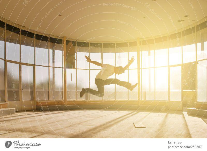 Human being Man Adults Window Jump Masculine Vantage point Silhouette Sunbeam Light Glazed facade