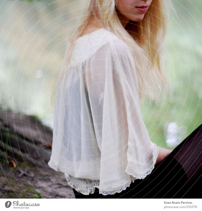 Human being Youth (Young adults) Beautiful Feminine Hair and hairstyles Fashion Blonde Sit River Thin Young woman Beautiful weather Skirt Hip & trendy Tights