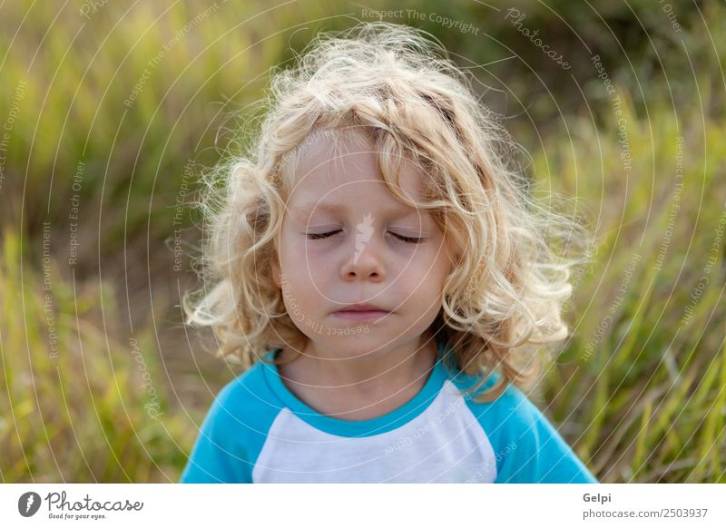 Small child with long blond hair Child Human being Nature Man Summer Plant Beautiful Green White Loneliness Face Adults Environment Funny Happy Boy (child)