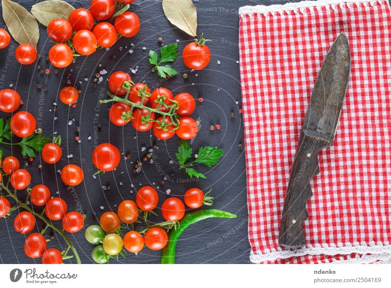 ripe red cherry tomatoes Vegetable Herbs and spices Nutrition Vegetarian diet Diet Knives Kitchen Nature Wood Eating Fresh Small Natural Above Juicy Green Red