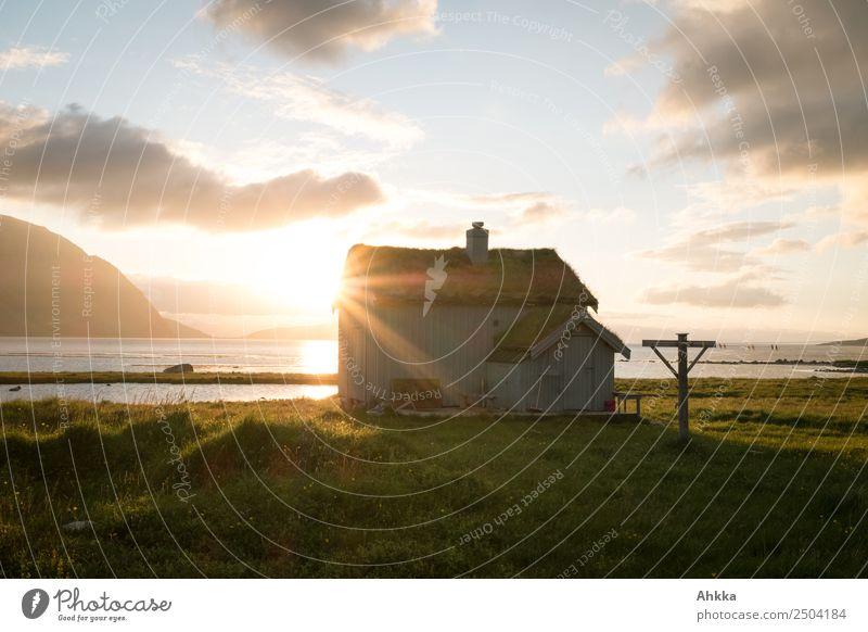Dream. Cabin. Norway. midnight sun Vacation & Travel Sky Sun Sunrise Sunset Grass Coast Midnight sun Arctic Ocean Hut Relaxation Illuminate Happy Contentment
