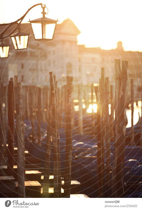 morning in venice. Town Port City Esthetic Venice Italy Jetty Lantern Historic Wanderlust Gondola (Boat) Wooden stake Ocean Mediterranean sea Lighting