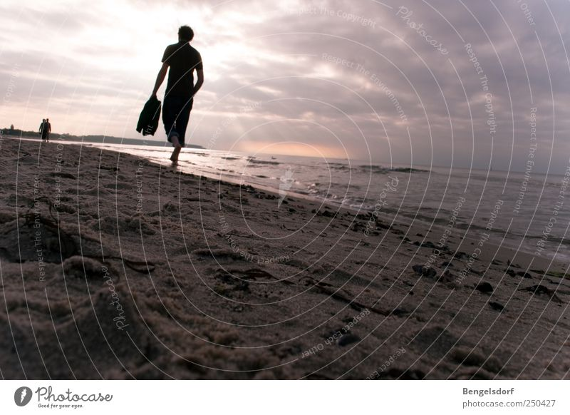 Human being Sun Vacation & Travel Ocean Summer Beach Clouds Loneliness Calm Far-off places Relaxation Freedom Movement Sand Trip Masculine