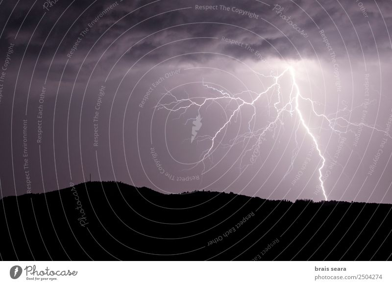 Lightning strike during a thunderstorm Education Science & Research Environment Nature Landscape Elements Sky Clouds Storm clouds Night sky Horizon Climate